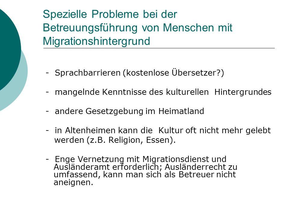 Spezielle Probleme bei der Betreuungsführung von Menschen mit Migrationshintergrund