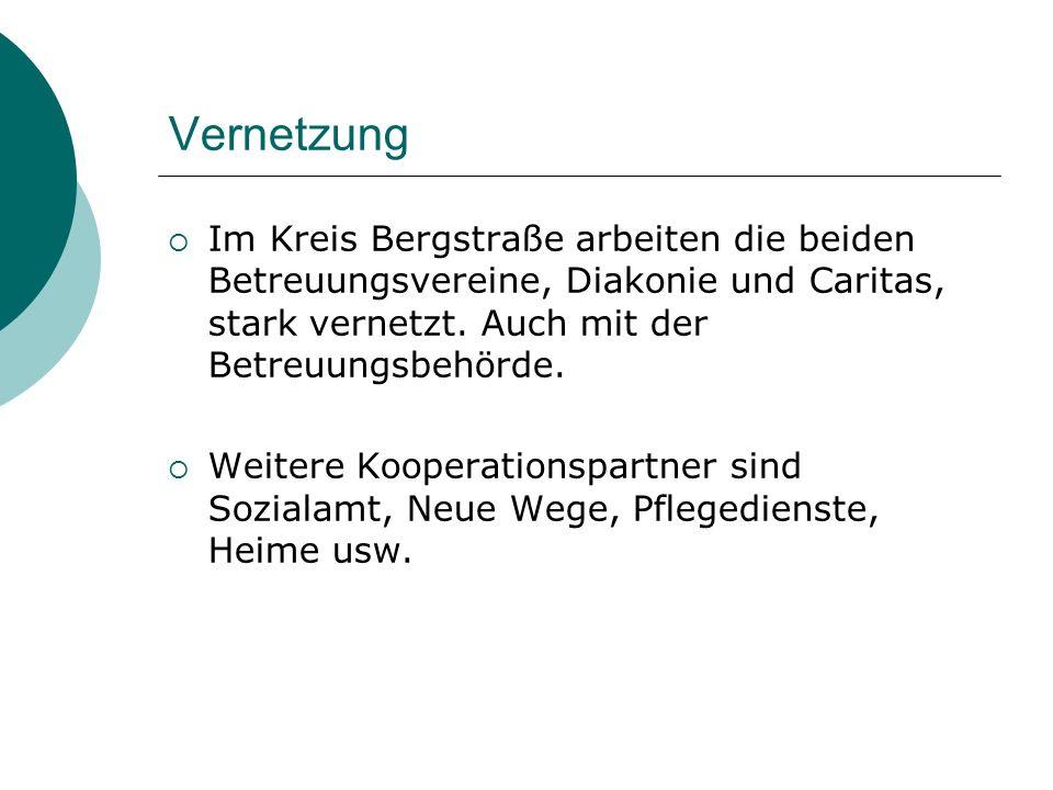 Vernetzung Im Kreis Bergstraße arbeiten die beiden Betreuungsvereine, Diakonie und Caritas, stark vernetzt. Auch mit der Betreuungsbehörde.