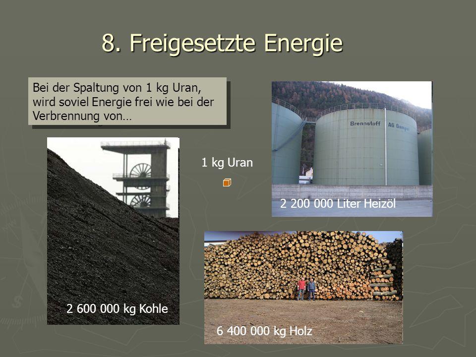 8. Freigesetzte Energie Bei der Spaltung von 1 kg Uran, wird soviel Energie frei wie bei der Verbrennung von…
