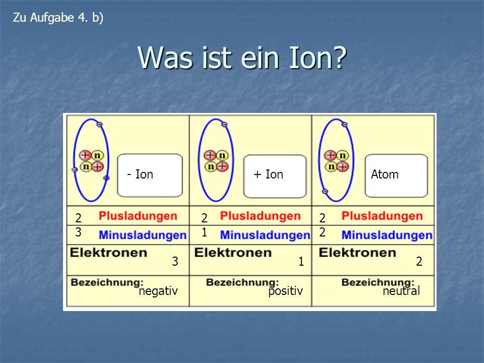Was ist ein Ion Zu Aufgabe 4. b) - Ion 2 3 negativ + Ion 2 1 positiv