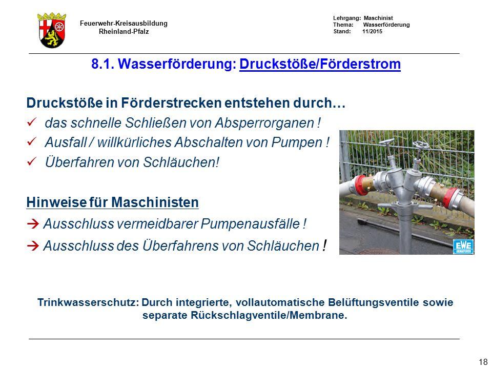 8.1. Wasserförderung: Druckstöße/Förderstrom