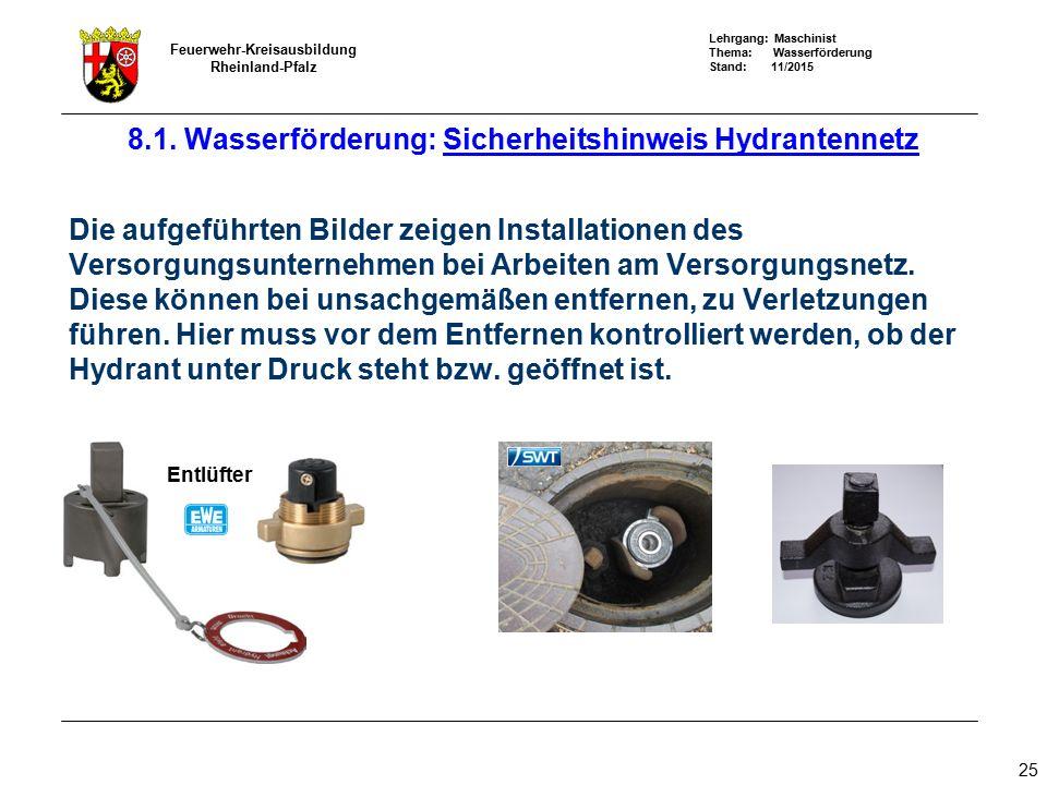8.1. Wasserförderung: Sicherheitshinweis Hydrantennetz