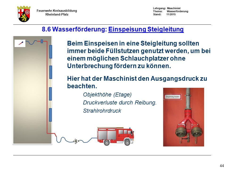 8.6 Wasserförderung: Einspeisung Steigleitung