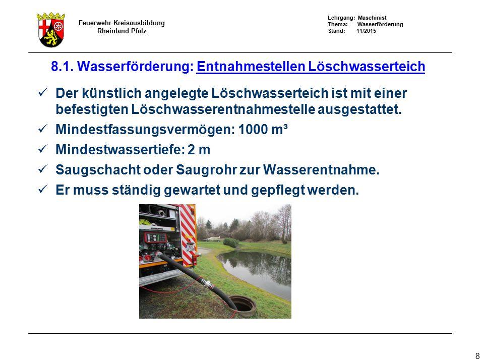 8.1. Wasserförderung: Entnahmestellen Löschwasserteich