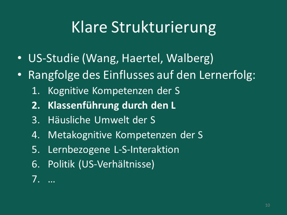 Klare Strukturierung US-Studie (Wang, Haertel, Walberg)