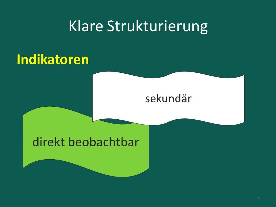 Klare Strukturierung Indikatoren direkt beobachtbar sekundär