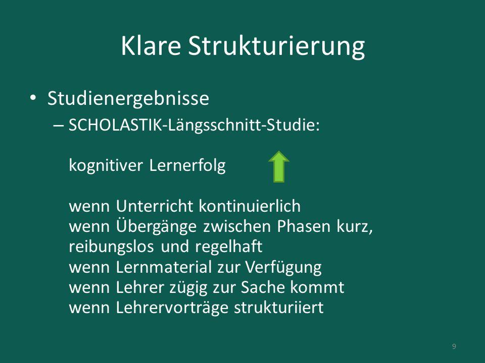 Klare Strukturierung Studienergebnisse
