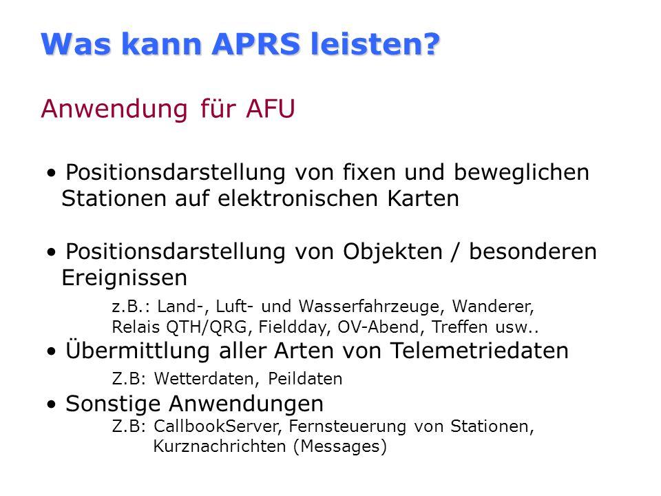 Was kann APRS leisten Anwendung für AFU