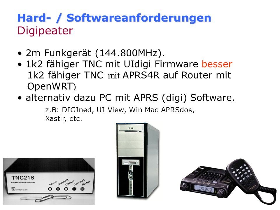 Hard- / Softwareanforderungen Digipeater