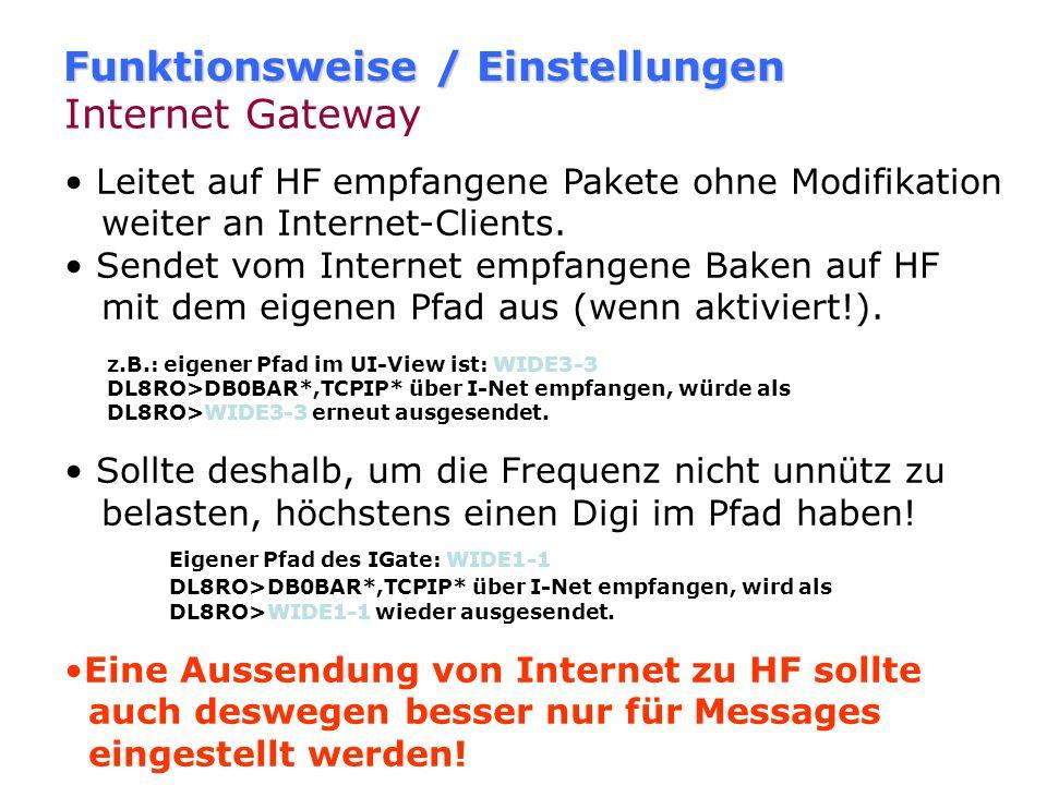 Funktionsweise / Einstellungen Internet Gateway