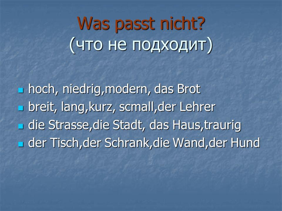 Was passt nicht (что не подходит)