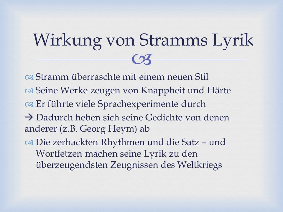 Wirkung von Stramms Lyrik