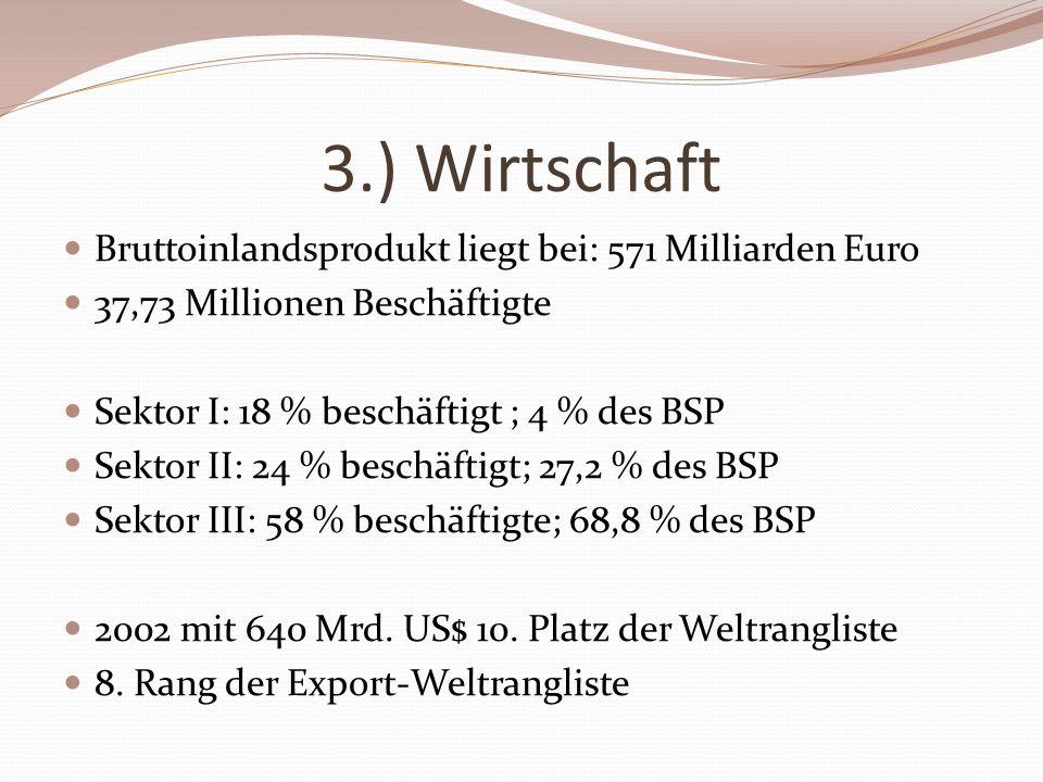 3.) Wirtschaft Bruttoinlandsprodukt liegt bei: 571 Milliarden Euro