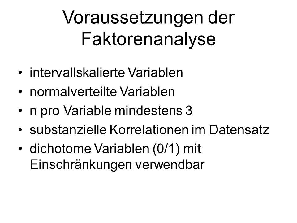 Voraussetzungen der Faktorenanalyse