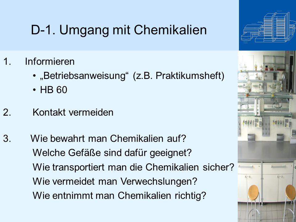 D-1. Umgang mit Chemikalien