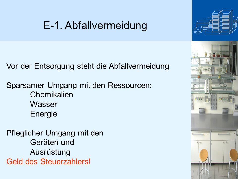 E-1. Abfallvermeidung Vor der Entsorgung steht die Abfallvermeidung