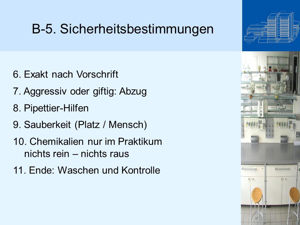 B-5. Sicherheitsbestimmungen