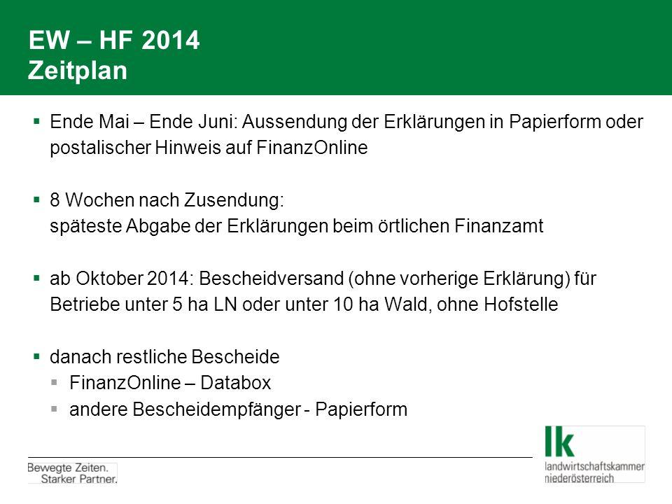 EW – HF 2014 Zeitplan Ende Mai – Ende Juni: Aussendung der Erklärungen in Papierform oder postalischer Hinweis auf FinanzOnline.