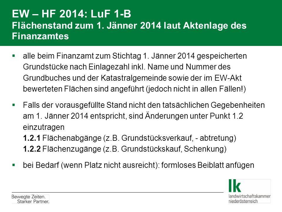 EW – HF 2014: LuF 1-B Flächenstand zum 1