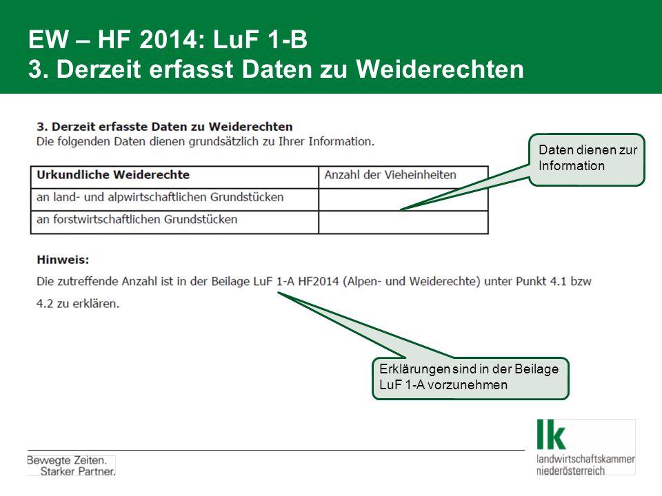 EW – HF 2014: LuF 1-B 3. Derzeit erfasst Daten zu Weiderechten