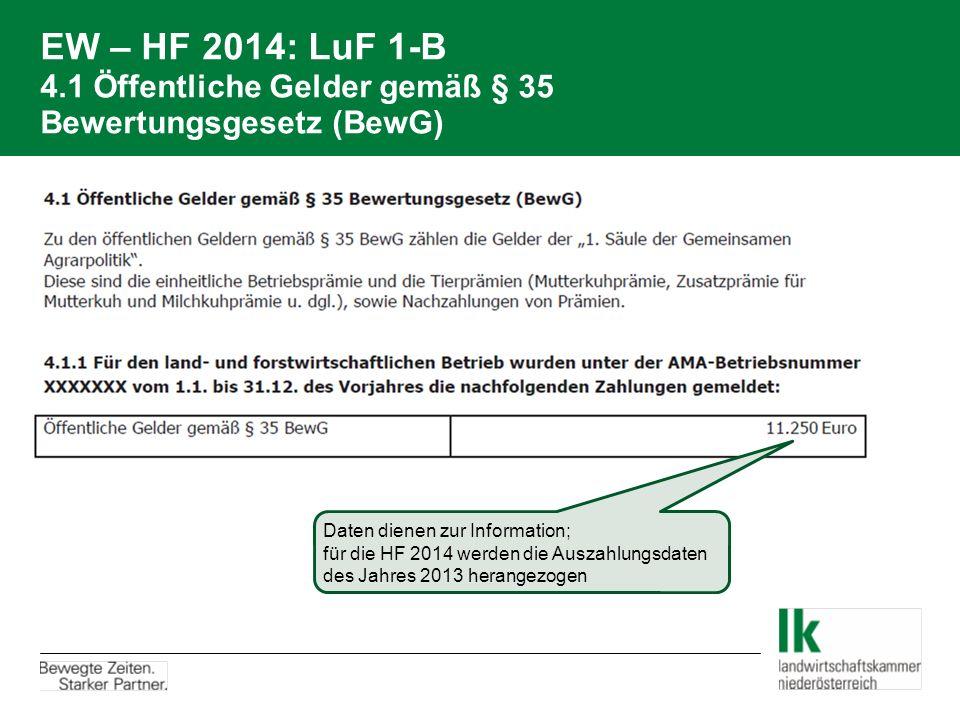 EW – HF 2014: LuF 1-B 4.1 Öffentliche Gelder gemäß § 35 Bewertungsgesetz (BewG)