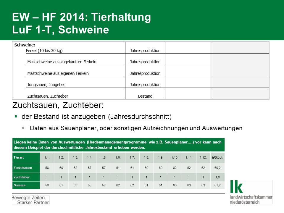 EW – HF 2014: Tierhaltung LuF 1-T, Schweine