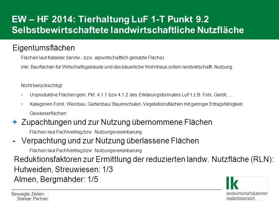 EW – HF 2014: Tierhaltung LuF 1-T Punkt 9