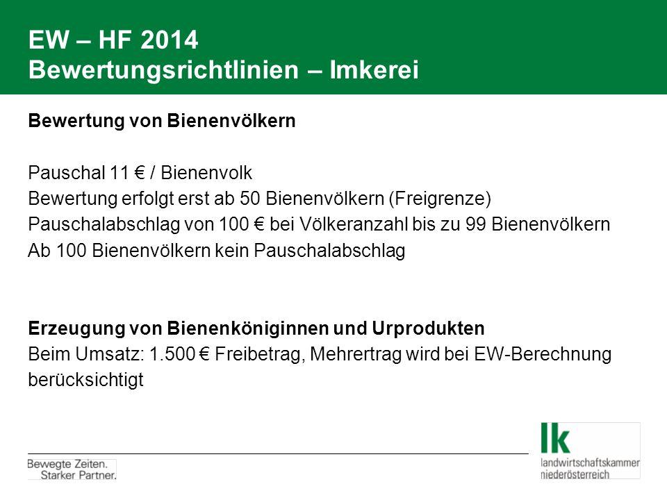 EW – HF 2014 Bewertungsrichtlinien – Imkerei