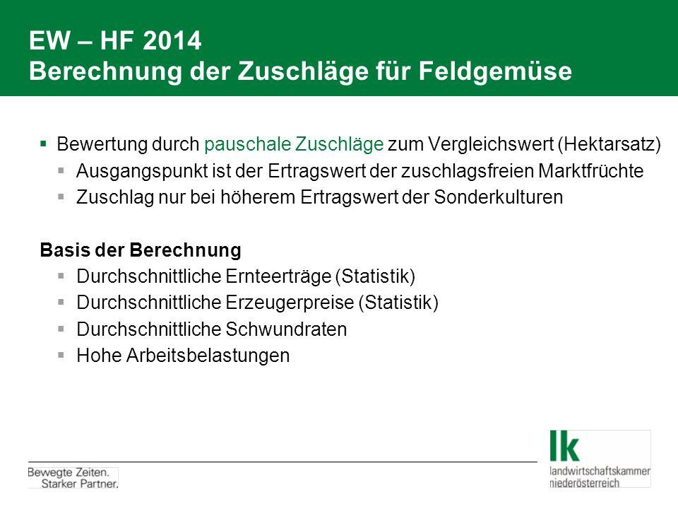 EW – HF 2014 Berechnung der Zuschläge für Feldgemüse