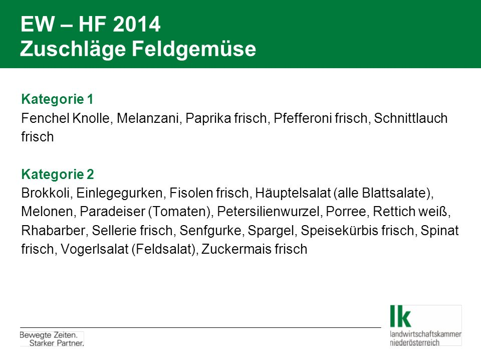 EW – HF 2014 Zuschläge Feldgemüse
