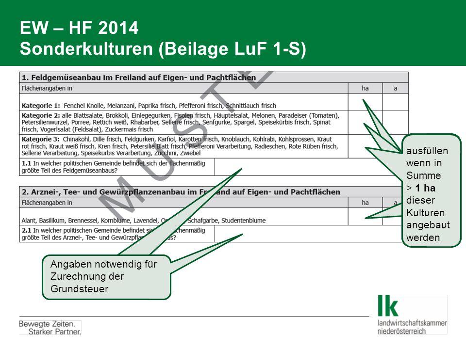 EW – HF 2014 Sonderkulturen (Beilage LuF 1-S)