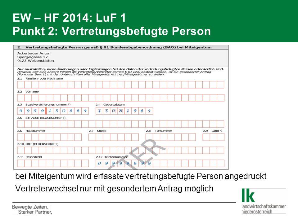 EW – HF 2014: LuF 1 Punkt 2: Vertretungsbefugte Person
