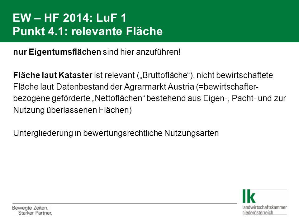 EW – HF 2014: LuF 1 Punkt 4.1: relevante Fläche