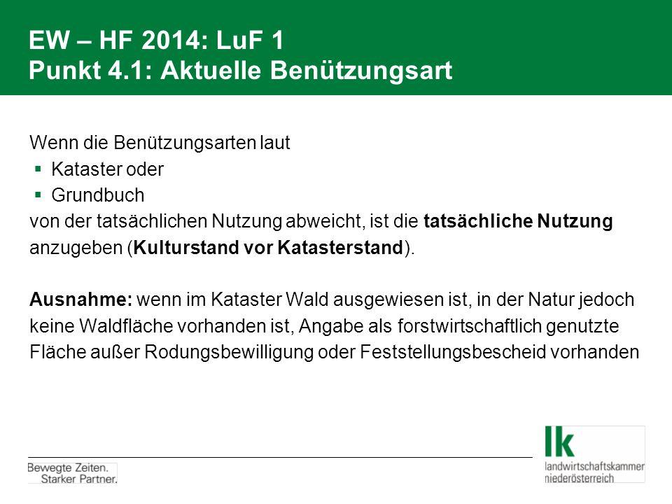EW – HF 2014: LuF 1 Punkt 4.1: Aktuelle Benützungsart