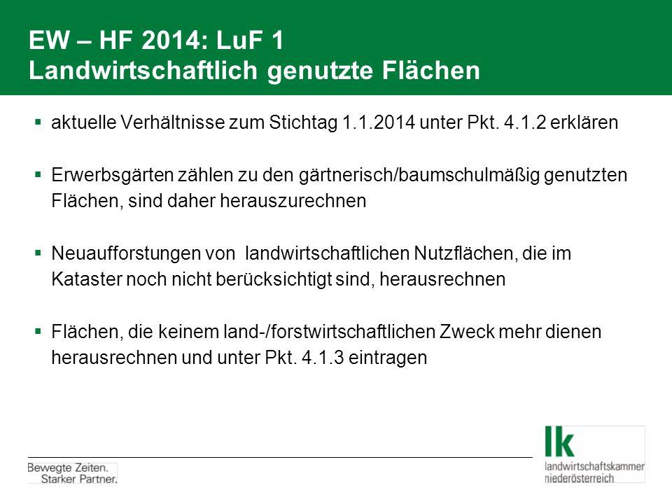 EW – HF 2014: LuF 1 Landwirtschaftlich genutzte Flächen