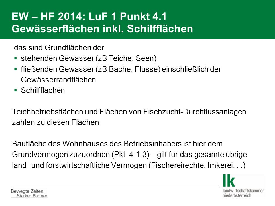 EW – HF 2014: LuF 1 Punkt 4.1 Gewässerflächen inkl. Schilfflächen