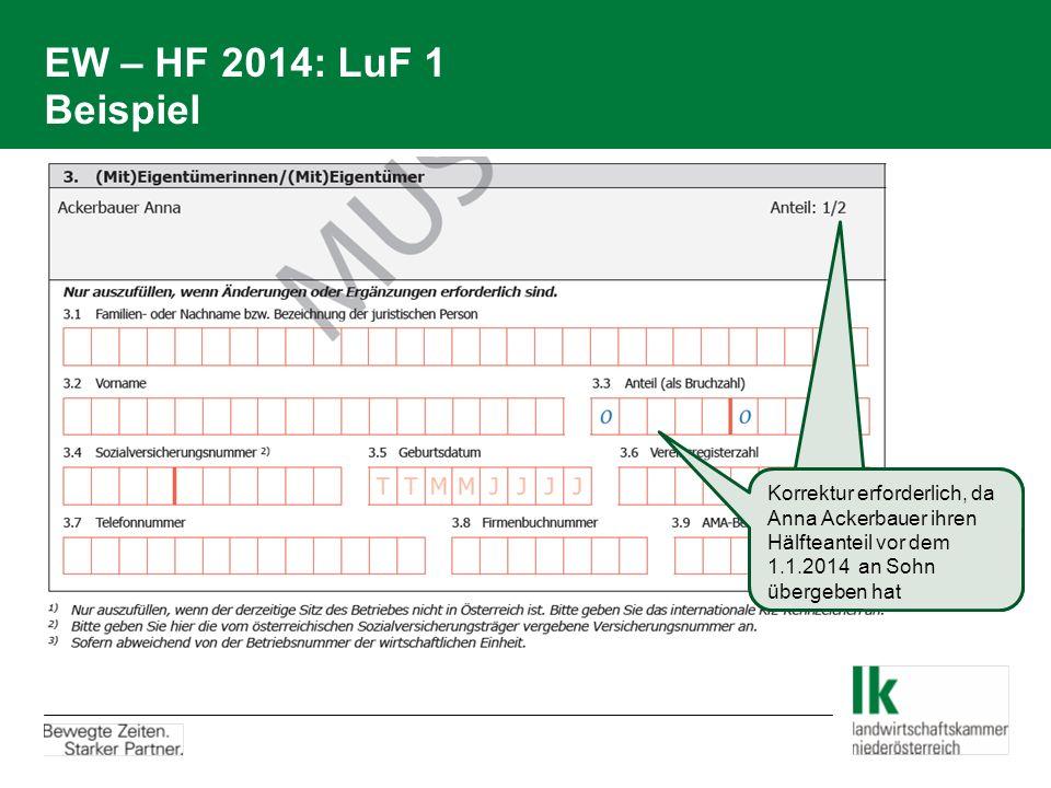 EW – HF 2014: LuF 1 Beispiel Korrektur erforderlich, da Anna Ackerbauer ihren Hälfteanteil vor dem 1.1.2014 an Sohn übergeben hat.