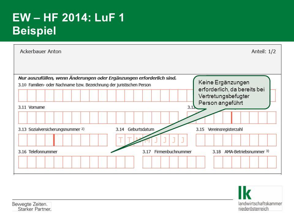EW – HF 2014: LuF 1 Beispiel Keine Ergänzungen erforderlich, da bereits bei Vertretungsbefugter Person angeführt.