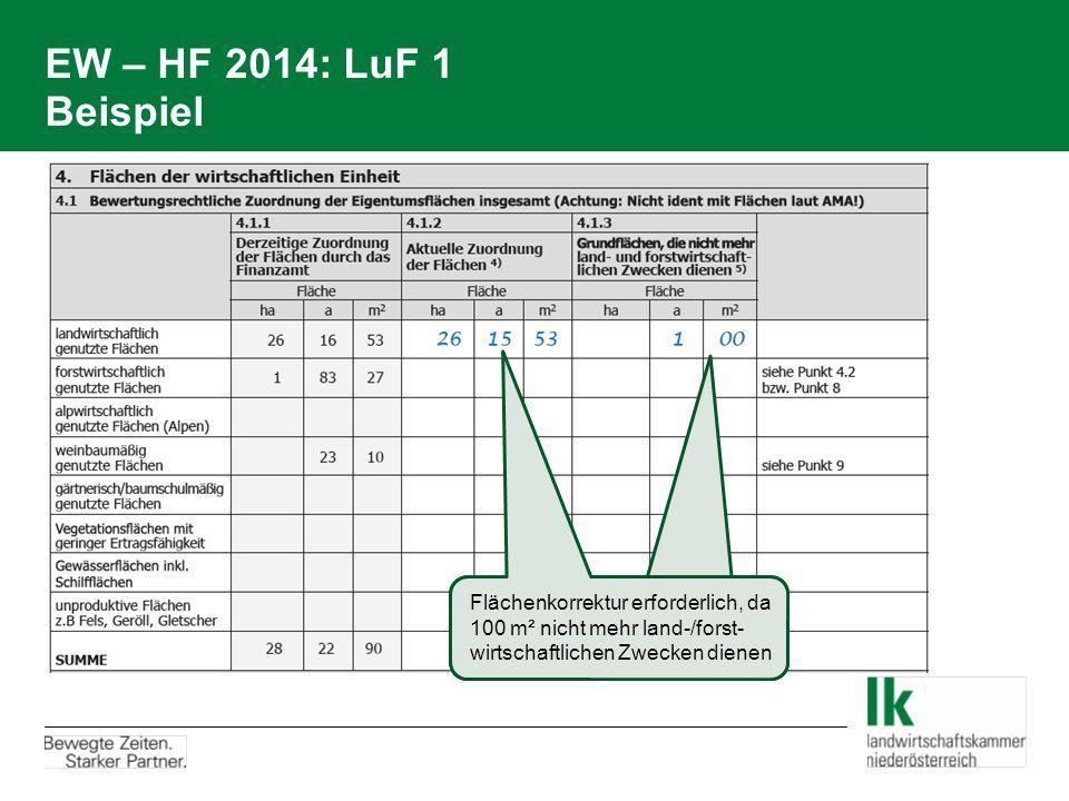 EW – HF 2014: LuF 1 Beispiel Flächenkorrektur erforderlich, da 100 m² nicht mehr land-/forst- wirtschaftlichen Zwecken dienen.