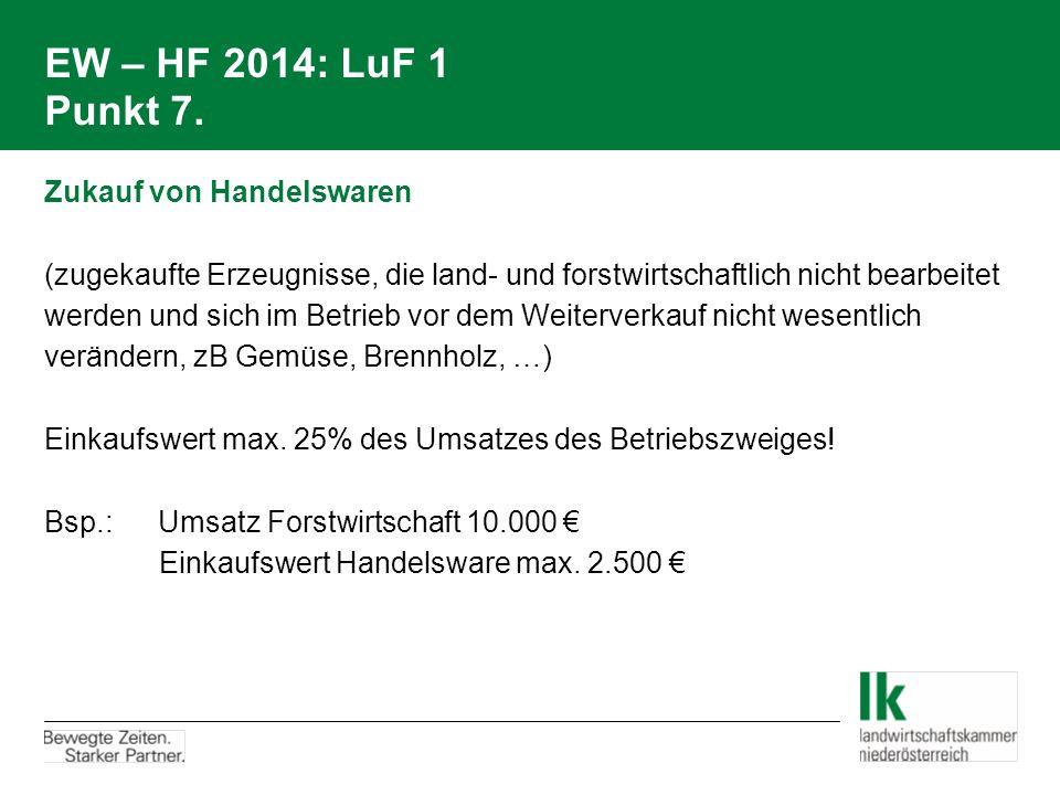 EW – HF 2014: LuF 1 Punkt 7. Zukauf von Handelswaren