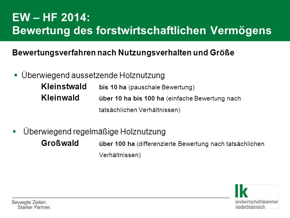 EW – HF 2014: Bewertung des forstwirtschaftlichen Vermögens