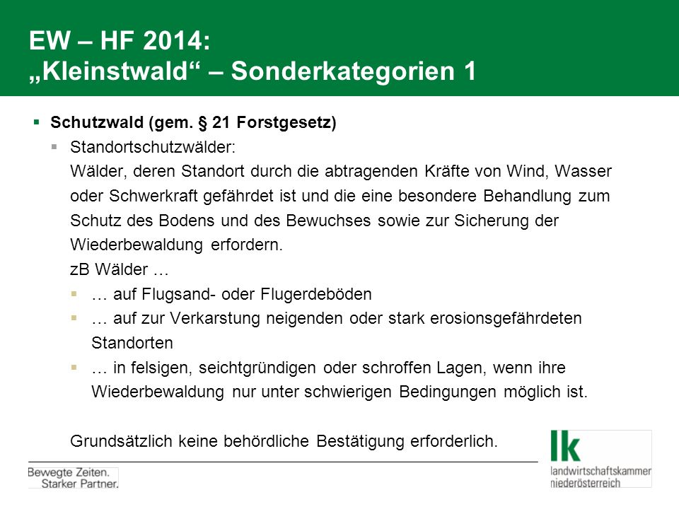 "EW – HF 2014: ""Kleinstwald – Sonderkategorien 1"