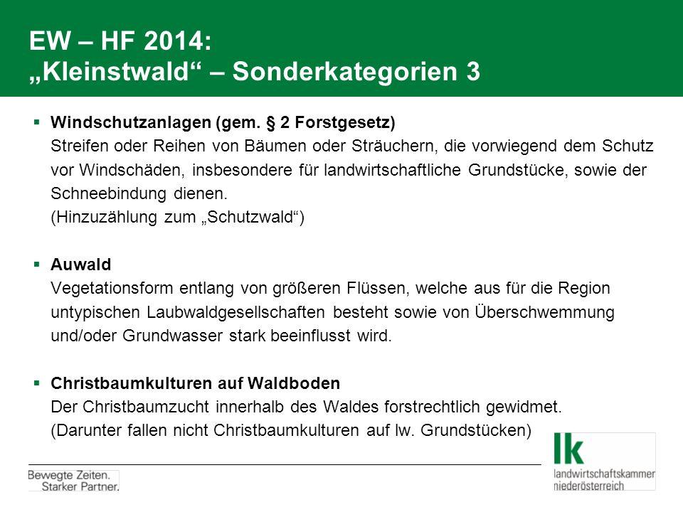 "EW – HF 2014: ""Kleinstwald – Sonderkategorien 3"