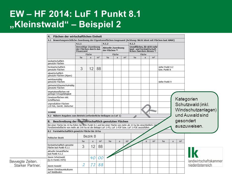"""EW – HF 2014: LuF 1 Punkt 8.1 """"Kleinstwald – Beispiel 2"""
