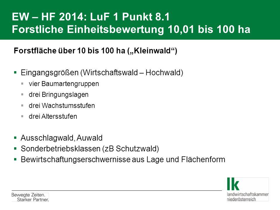 EW – HF 2014: LuF 1 Punkt 8.1 Forstliche Einheitsbewertung 10,01 bis 100 ha