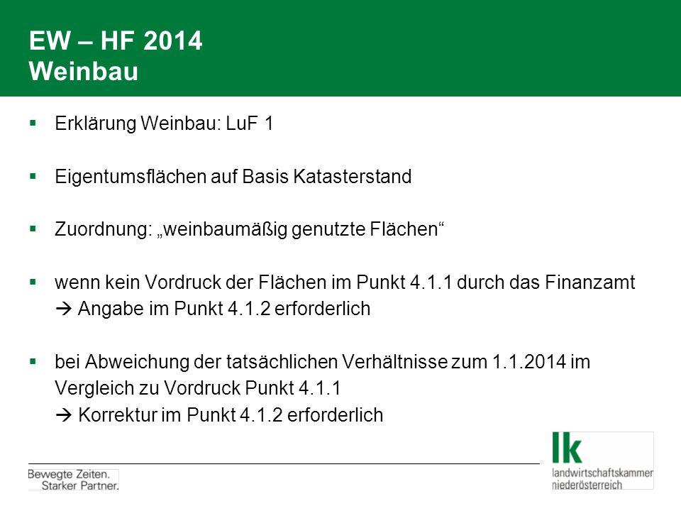 EW – HF 2014 Weinbau Erklärung Weinbau: LuF 1
