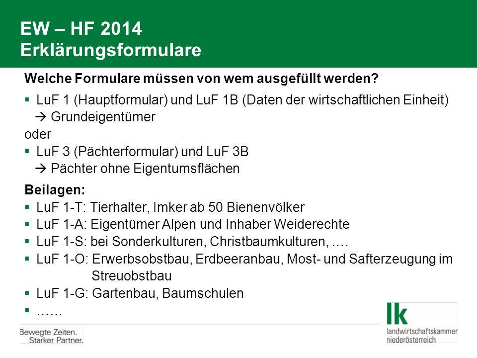 EW – HF 2014 Erklärungsformulare