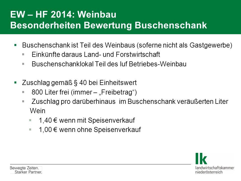 EW – HF 2014: Weinbau Besonderheiten Bewertung Buschenschank