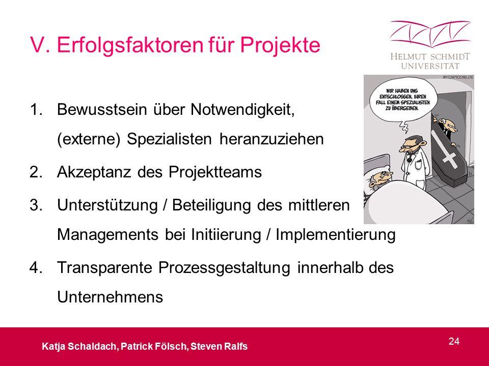 V. Erfolgsfaktoren für Projekte