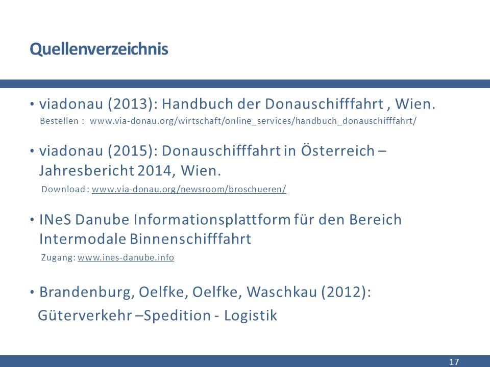 Quellenverzeichnis viadonau (2013): Handbuch der Donauschifffahrt , Wien.